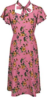 Ez-sofei Women's Vintage 1940s Square Bowtie Neck Floral Cocktail Swing Dress