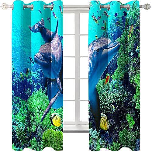 HQQK Cortina 3D Impreso,Delfines escénicos en el océano Cortinas Opacas De Ojales Poliéster Cortinas para Sala de Estar y Dormitorio con Aislamiento Térmico 2X W 75 x L 166 cm, Azul