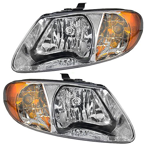 Headlights Headlamps Driver and Passenger Replacements for Dodge Caravan Chrysler Town & Country Voyager Van 4857701AC 4857700AC