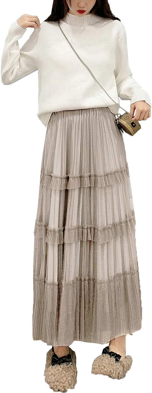 lookwoild Women Casual Midi Skirt High Waist Layered Polka Dot Mesh Skirt Pleated A-Line Swing Skirt Y2K Clubwear (Apricot2, One Size)