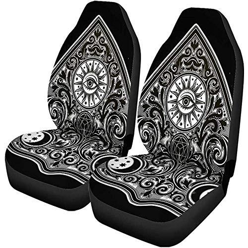 TABUE 2 stuks autostoelhoezen vintage magische Ouija Board Oracle antieke Boho Chic Halloween stoelbescherming geschikt voor auto, SUV limousine, vrachtwagen