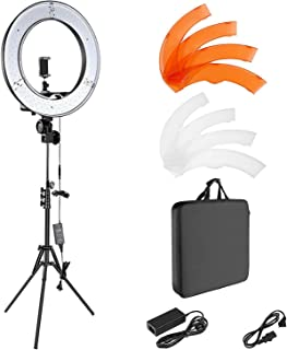 """House of Quirk Ring Light Kit:18""""/48cm Outer 55W 5500K Dimmable LED Ring Light, Light Stand, Carrying Bag for Camera,Smartphone,YouTube,Self-Portrait Shooting - Black"""