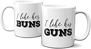 I like her buns, I like his guns - (2) 11oz coffee cups - funny couples mug set - gift for wife, husband, girlfriend, boyfriend - engagement present - housewarming gift - microwave and dishwasher safe