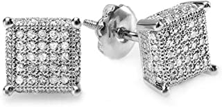 0.50 Carat (ctw) White Real Diamond Ice Cube Dice Shape Mens Hip Hop Iced Stud Earrings 1/2 CT