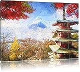 Pixxprint Japanischer Tempel im Herbst Pinsel Effekt,