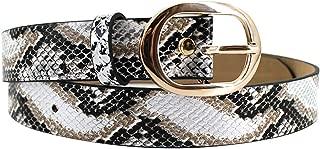 Women Animal Print Faux Leather Belt with Gold Buckle Retro Vintage Leopard Snakeskin Print Jeans Shorts Waist Belts