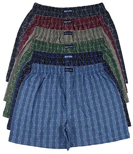 6 bedruckte & weiche 100% Baumwoll Herren Boxershorts Boxer Short in 6 oder 3 modischen Farben im 6er Set verfügbar in S M L XL 2XL 3XL 4XL & 5XL 6XL, Set06, XL-7