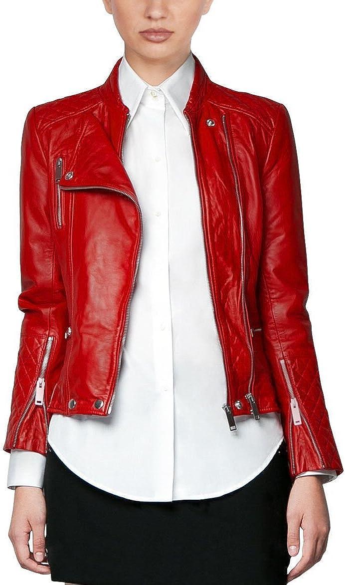 Leather Women's Quilted Leather Genuine Lambskin biker Stylist Jacket
