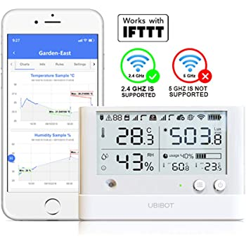 UbiBot WS1 Pro WiFi Temperature Humidity Sensor,Wireless Temperature Monitor, Freezer Thermometer,Remote Data Logger with Alerts, IFTTT Hygrometer, Free Android & iOS App(2.4GHz WiFi only)