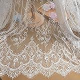 Encaje floral chantilly para vestido de novia/boda, tela de mesa, manualidades, bricolaje, festón de adorno decorado para ropa o cortinas, blanco marfil/negro, 300 cm x 150 cm