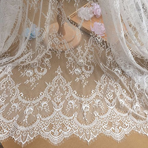 Chantilly Lace Floral Bridal /Wedding Dress Flower Textil Handwerk Scallop Trim Applique Kleidung Vorhang Weiß Elfenbein /Schwarz 300cmx150cm ALE02