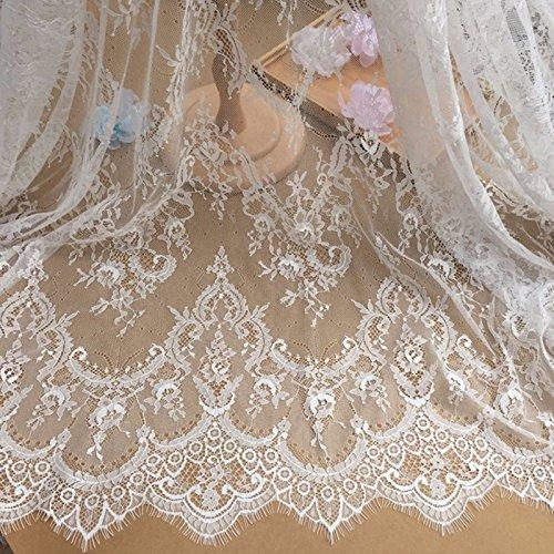 Chantilly ALE02 kanten boord, bloemenpatroon, voor bruidsjurk, geborduurd, stof, tafelkleed, doe-het-zelf knutselen, schelpboord, kleding, gordijnen, wit ivoorkleuren/zwart, 300 x 150 cm