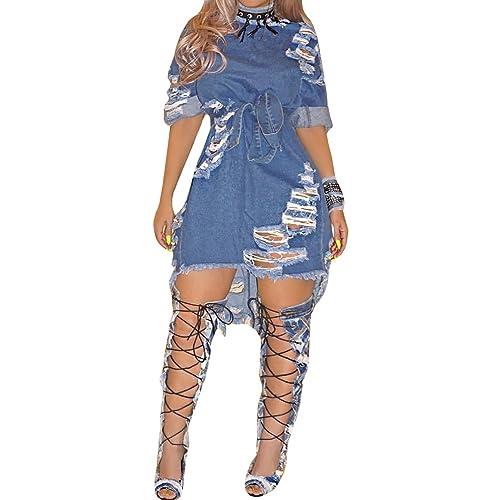 85f0c7230a Imily Bela Women s Summer Half Sleeve Ripped Hole Distressed Denim Mini  Dress Clubwear