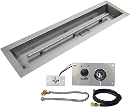 Stanbroil 30 x 6 inch Linear Drop-In Fire Pit Pan with Spark Ignition Kit Natural Gas Version