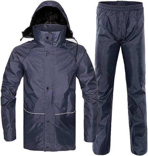 Asdflina Imperméable à l'eau Veste et Pantalon de Pluie, imperméable à Capuche Poncho Suit Cycle imperméable (Couleur   Bleu Marin, Taille   XXXL)
