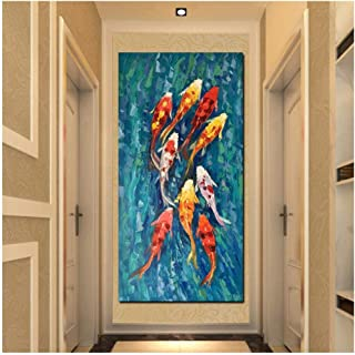 Ywsen Wall Art Picture Print Chinese Abstract Nine Koi Fish Landscape Oil Painting on Canvas Poster for Living Room Modern Decor 60x120cm unframed