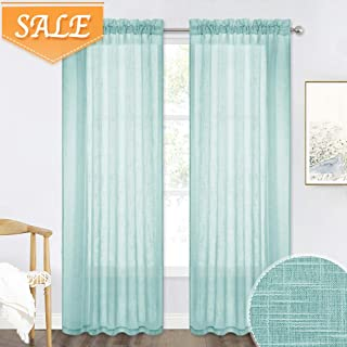 RYB HOME Sheer Curtains for Large Windows, Lined Textured Semi Voile Panels, Air & Light Through Rod Pocket Designed Draperies for Dinning Area/Front Door, Blue Haze, W 52