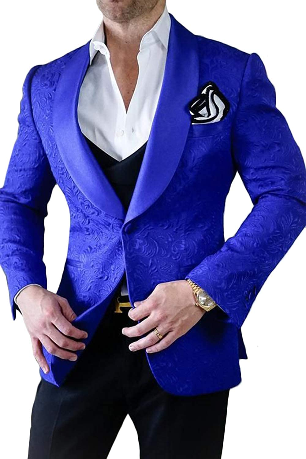 Wemaliyzd Men's 3 Pieces Vintage Patterned Suit Double Breasted Collar Vest Pants