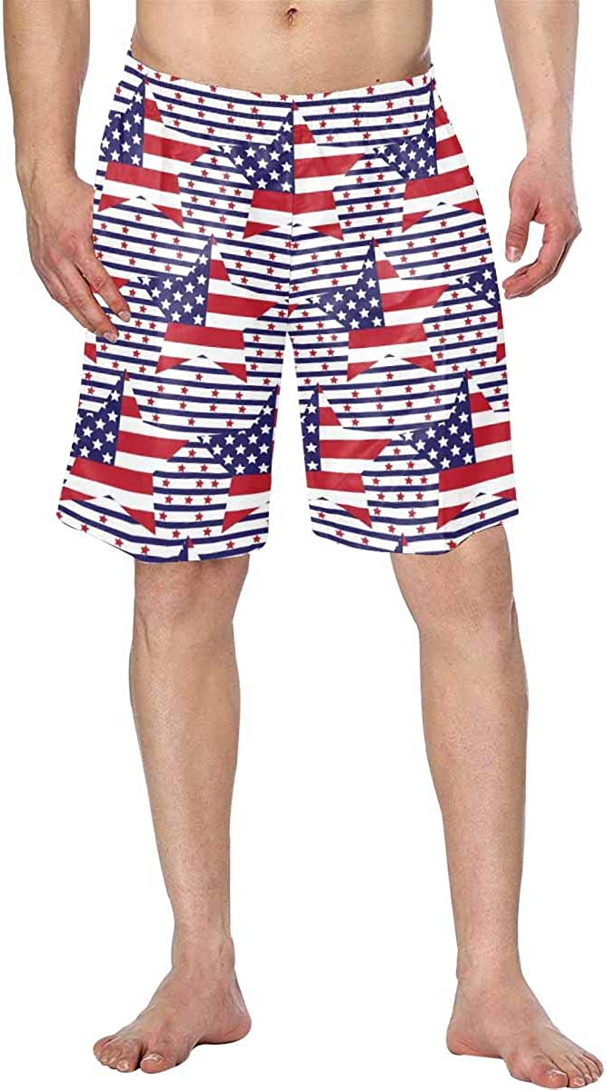 InterestPrint Men's Comfortable Bathing Suits with Fabric Drawcord Lining Grunge Great Britain Flag -