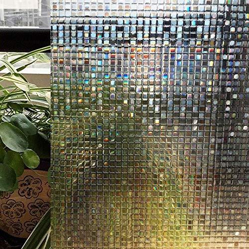 LMKJ Etiqueta engomada de la Ventana de Mosaico láser 3D Película de Vidrio de privacidad estática de PVC No Adhesivo Esmerilado Opaco Dormitorio Cocina Etiqueta de Vidrio para el hogar A42 45x100cm