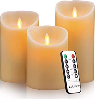 """Flameless Candles, 4"""" 5"""" 6"""" Set of 3 Real Wax Not Plastic Pillars, Include Realistic Dancing LED Flames and 10-Key Remote Control with 2/4/6/8-hours Timer Function,300+ Hours (3X1)"""