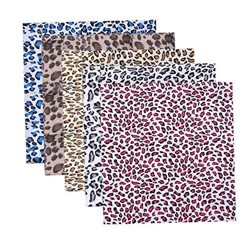 Minimei Stoff 5PCS Stoffe Zum Nähen Quilting-Stoff Mit Baumwoll-Leopardenmuster Zum Basteln Stoffe Zum Nähen Baumwolle DIY Nähen für Maske 25 X 25cm/50x50cm