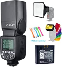 Godox V860II-O TTL GN60 2.4G High-Speed Sync 1/8000s Li-ion Battery Camera Flash Speedlite Light Compatible for Olympus Panasonic Cameras with 15x17cm Softbox & Filter & USB LED