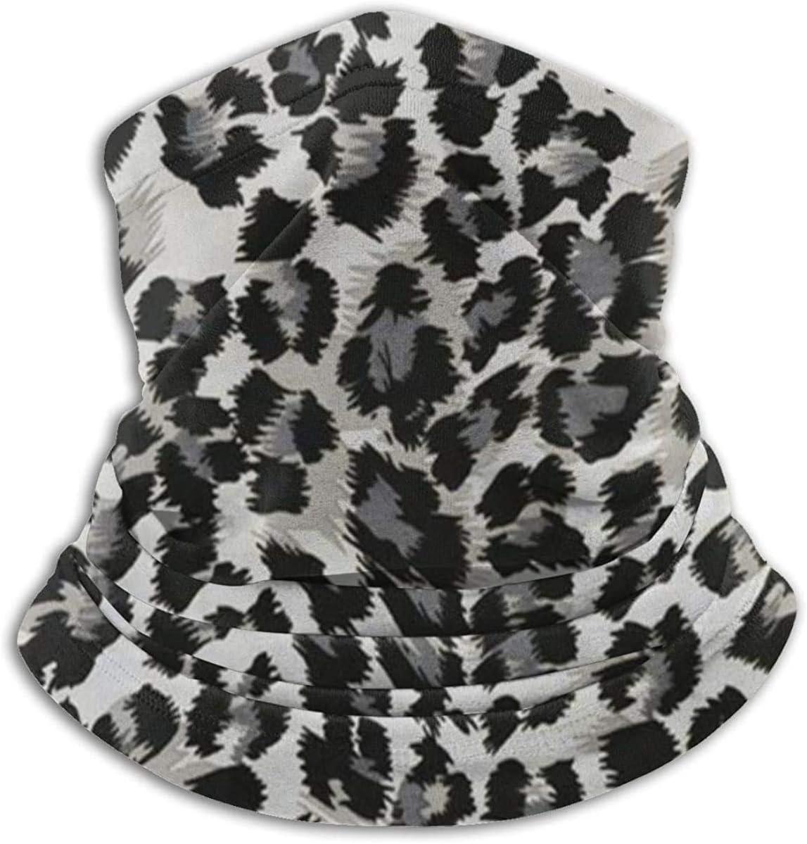 Lastbest Grey Black Leopard Pattern Animal Print Neck Warmer Multifunction Scarf Hat Neck Gaiter Neck Cap Bala Windproof Neck Heating Wrap Outdoor Sports