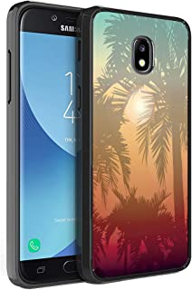 Moriko Compatible with Galaxy J3 TOP [Gel Slim Thin Hybrid Jelly Drop Protection Shockproof Black Phone Case Protector Cover] for Samsung J3 (2018) Orbit Achieve Star (California Summer)
