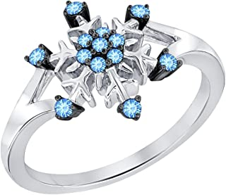 0.28ctw Round Created Blue Topaz 14K White Gold Plated Wedding Frozen Snowflake Ring For Women
