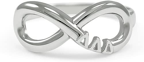 The Collegiate Standard Delta Delta Delta (Tri Delta) Sorority Sterling Silver Infinity Ring