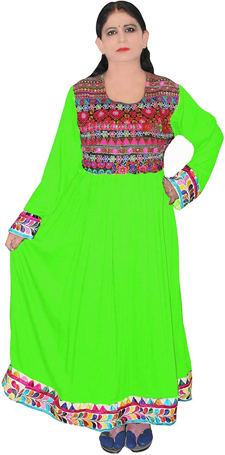Indian Women's Embroidered Green Dress Casual Maxi Gown Wedding Wear Frock Suit Plus Size