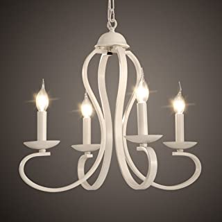wysm Chandelier Light Shades - Cristales de Techo - Mediterranean Korean - Luces Simples y Creativas para restaurantes - Lámparas Americanas Blancas y Negras (Color : Blanco)