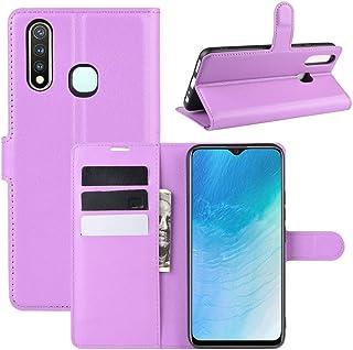 携帯電話&ケース ホルダー&カードスロット&財布とVIVO U3 / Y5s / Y19ライチテクスチャ水平用フリップ保護ケース (Color : 紫の)