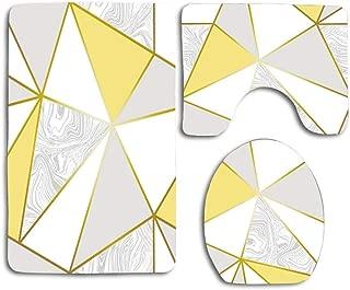 NEW MOMO 3 Piece Bathroom Rug Set Bath Rug Carpet Bathroom Rug Set Toilet Seat Cover Combo Geometric Metallic Mustard Gold