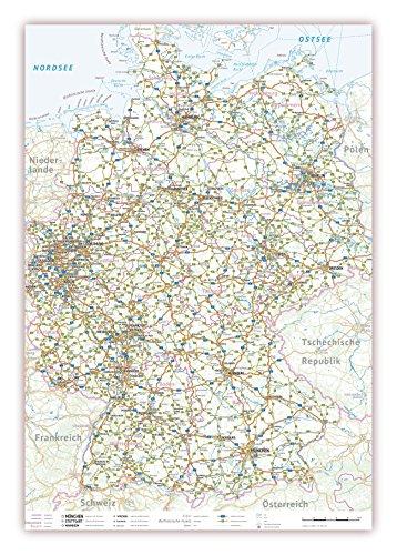 XXL Landkarte Bundesrepublik Deutschland politisch (K702k), gerollt Format 100 x 70 cm, Papier sehr stabil, Deutschlandkarte