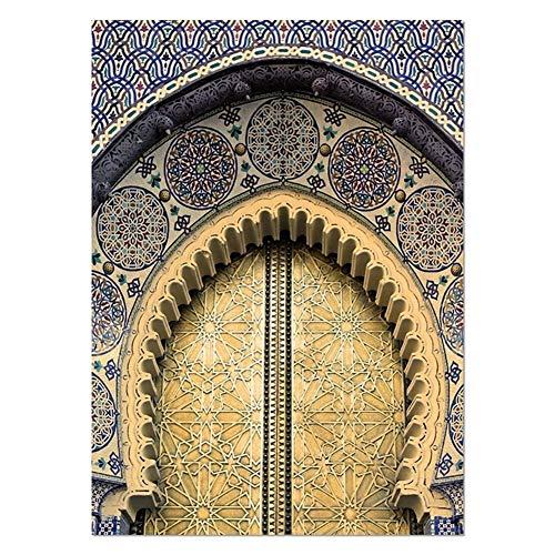 SJZS Dekorative Malerei Marokkanische Tür Wand-Kunst-Gold-Quran arabische Kalligraphie Leinwand Hecheln Islamische Architektur-Plakat-Druck Wandbilder Boho-Dekor