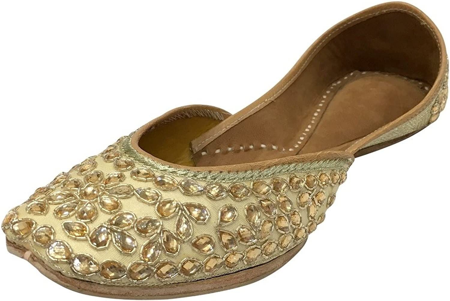 Step n Style Women Khusa Genuine Leather Sandal Indian Traditional Jutti Khussa shoes Cream gold