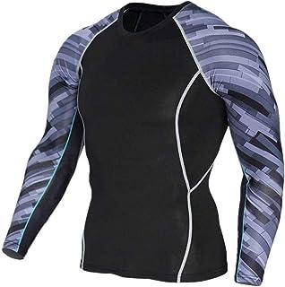 Black Compression Shirt Mens Slim Long Sleeve Gym Tees