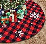 Falda de árbol de Navidad con copo de nieve a cuadros de 48 pulgadas - Alfombrilla de faldas de árbol a cuadros de búfalo rojo y negro más grande de 3.0 in para decoraciones de fiestas navideñas - 4