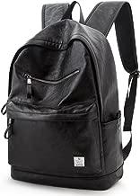 PU Black Leather Backpack School College Bookbag Laptop Rucksack