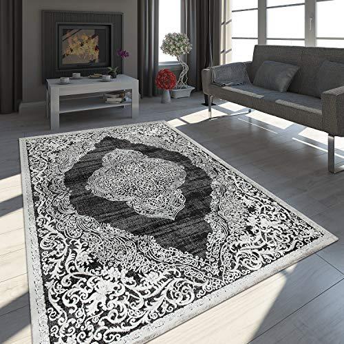 Paco Home Tapis Oriental Moderne Effet 3D Chiné Scintillant Ornements Noir Blanc, Dimension:120x170 cm