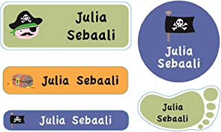 Essmak 74 Personalized Name Labels Pack - Multipurpose Labels for School Kids (Pirate 2 Design)