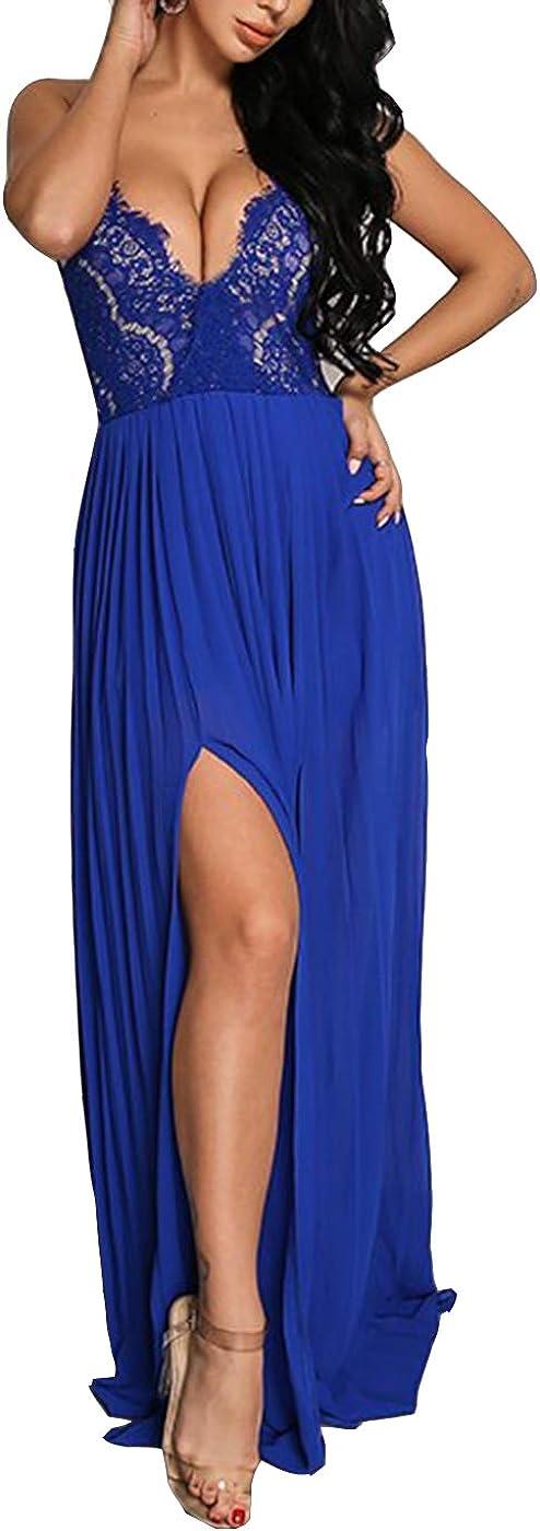 Pofash Women's Sexy Lace V Neck Spaghetti Strap Maxi Cocktai Party Evening Dress