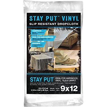 Trimaco 2 mil Stay Put Slip Resistant Vinyl Dropcloth, 9-feet x 12-feet