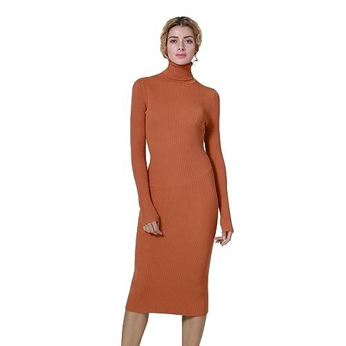 ab6350b938 ninovino Women's Ribbed Knit Long Sleeve Slim Fit Sweater Dress