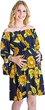 WEISUN Women Maternity Dress Off-The-Shoulder Sunflower Print Pregnant Dress Summer Maternity Mini Dress