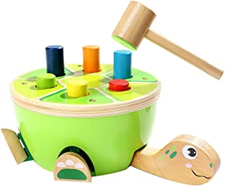 HHSDJ Wooden toys, children who are learning fine motor skills, preschool toys hammer toy gift children green