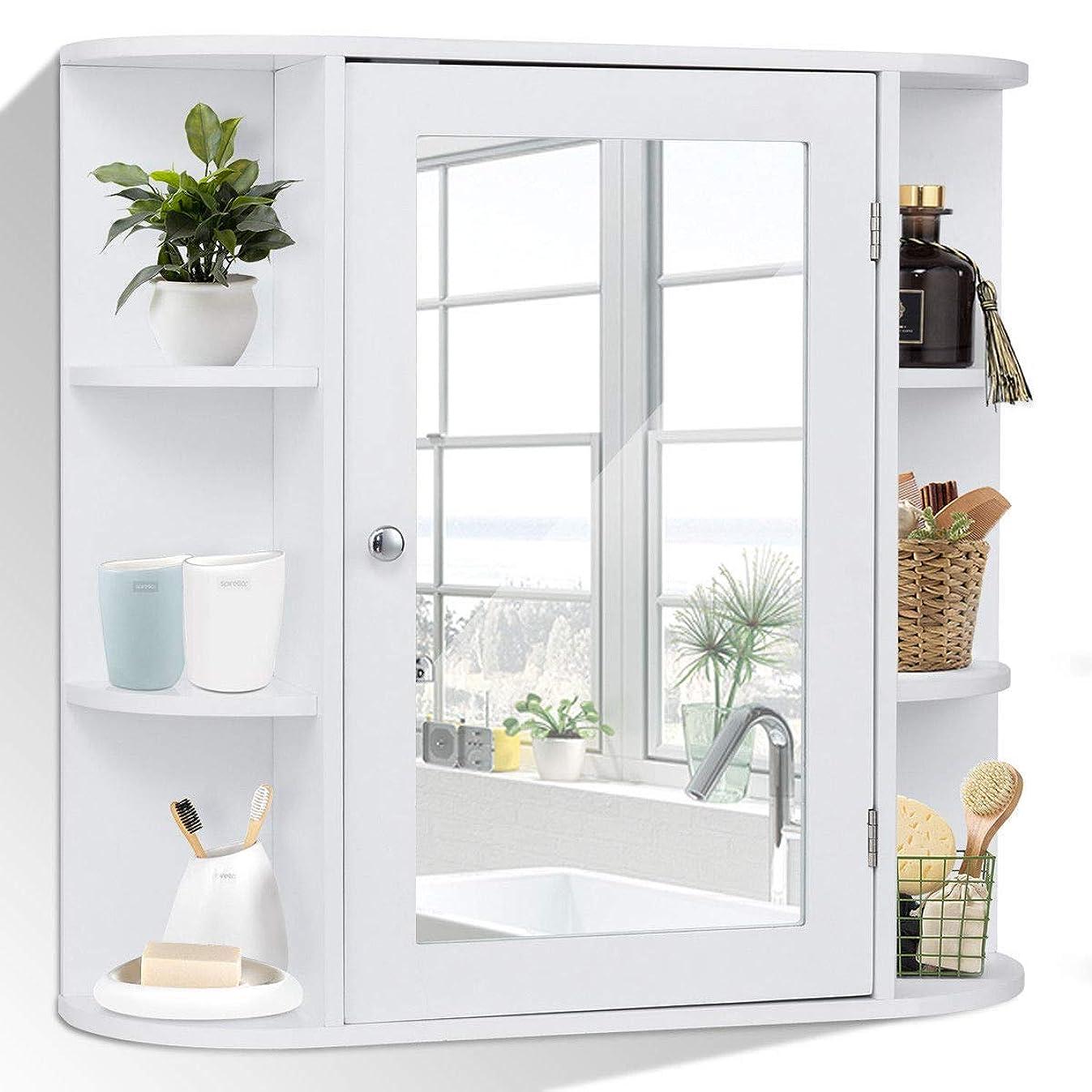 Tangkula Bathroom Cabinet Single Door Wall Mount with Mirror Organizer Storage Cabinet(4 Tier Inner Shelves)