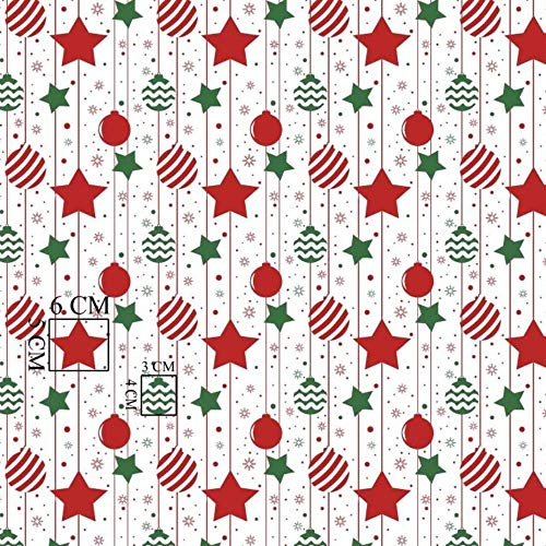 Pingianer 11,99 €/m 100 x 160 cm 100 % algodón Navidad tela de algodón para niños por metros artesanales de costura (bolas de Navidad con estrellas rojas, 100 x 160 cm)